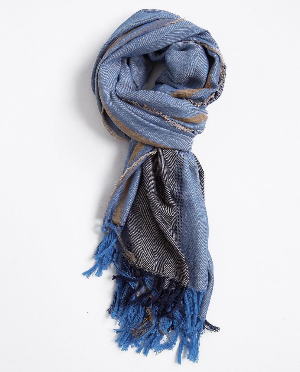 Écharpe bleue à franges - en laine mélangée - JBC